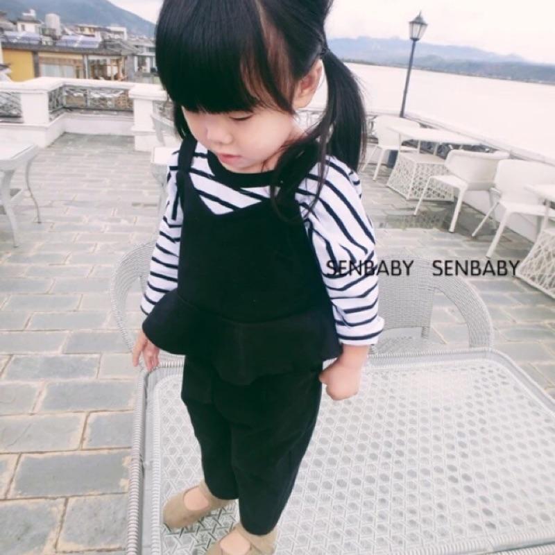 女童女寶兒童寶寶嬰兒三件式條紋長袖圓領T 恤上衣荷葉吊帶v 領背心長褲套裝