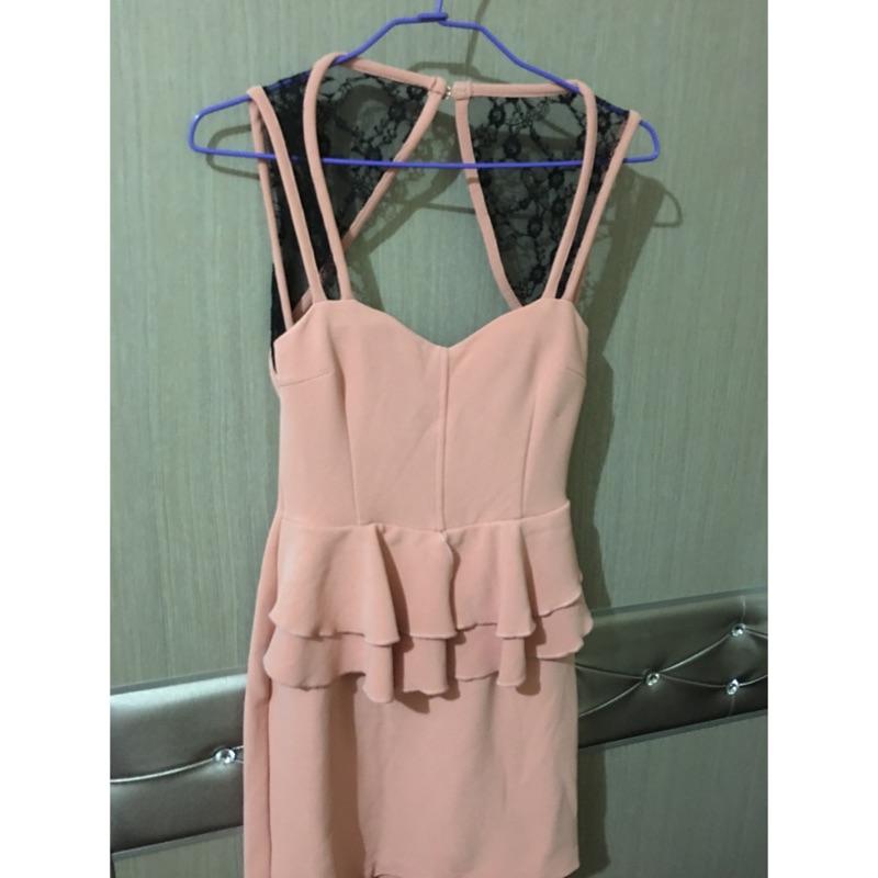 ❤️爆乳夜店 無袖蕾絲洋裝露背洋裝辣妹性感粉紅色M 號 890  209