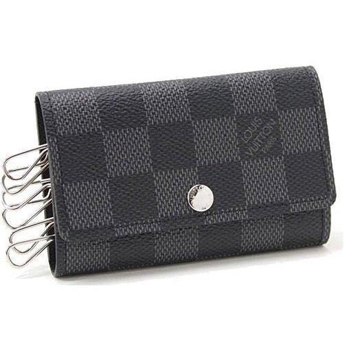 ~ 指南~Louis Vuitton LV N62662 黑棋盤格紋六孔鑰匙包LV 男女鑰