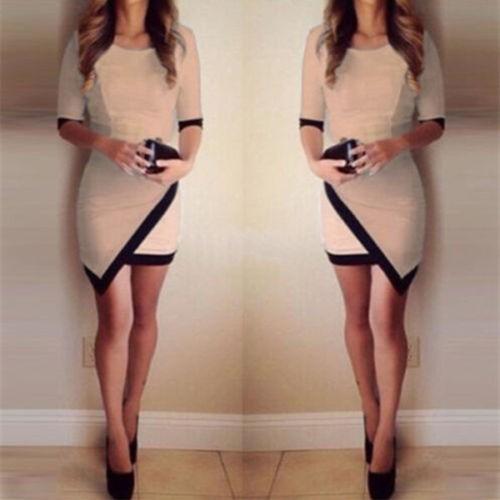欧美性感黑白撞色拼接不规则包臀中袖连衣裙卡其色