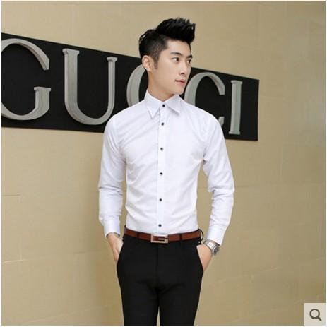 ~ ~ 男士長袖襯衫 青少年免燙白襯衣商務休閒修身型男襯衫