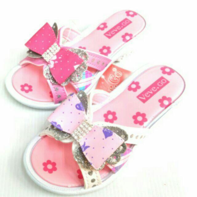 女童蝴蝶結拖鞋共兩色