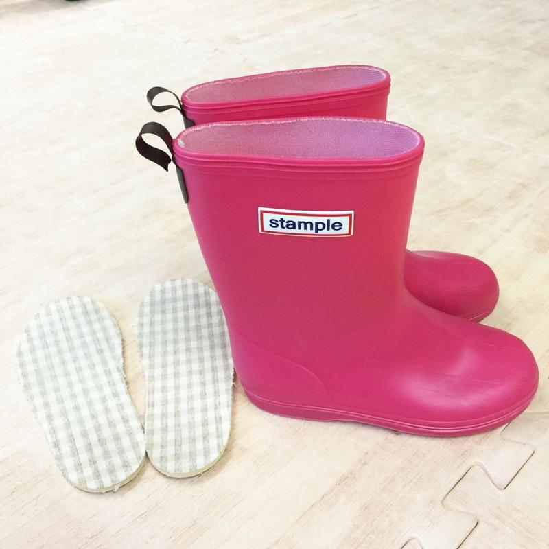 八成新! ~St le ~兒童雨鞋蜜桃紅粉紅色長靴17cm