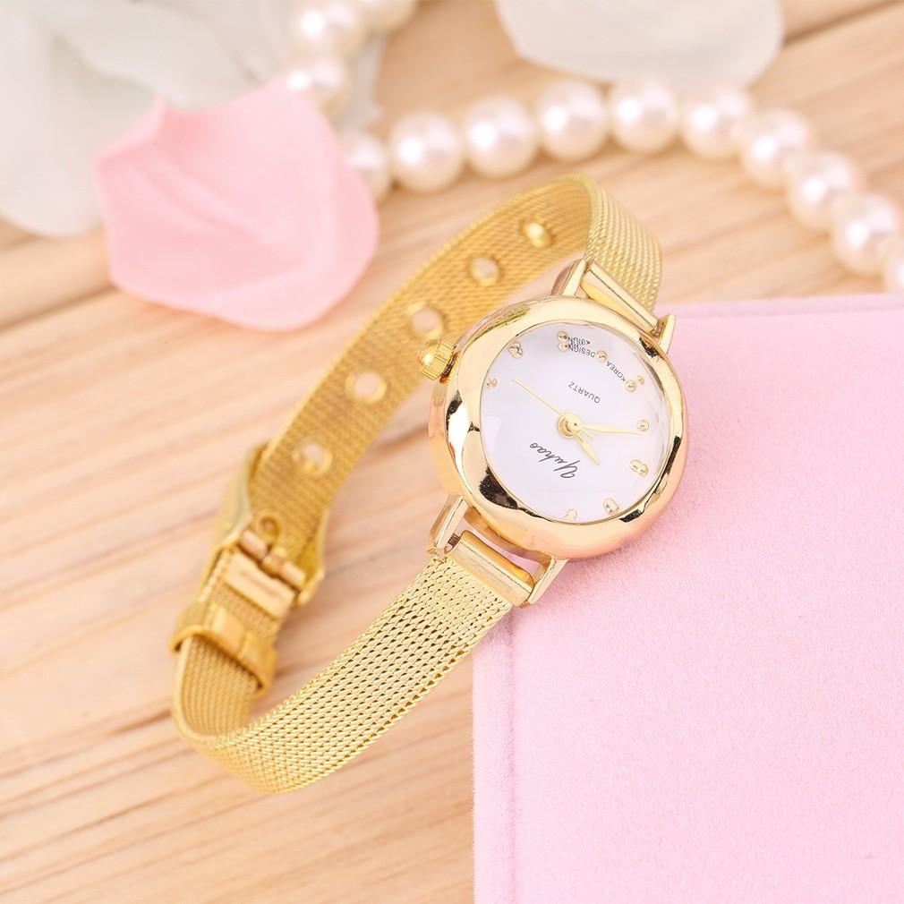 韓國 簡約金屬鏈條手錶氣質細帶休閒手錶女錶石英手錶腕錶土豪金表潮女錶細帶手鍊表