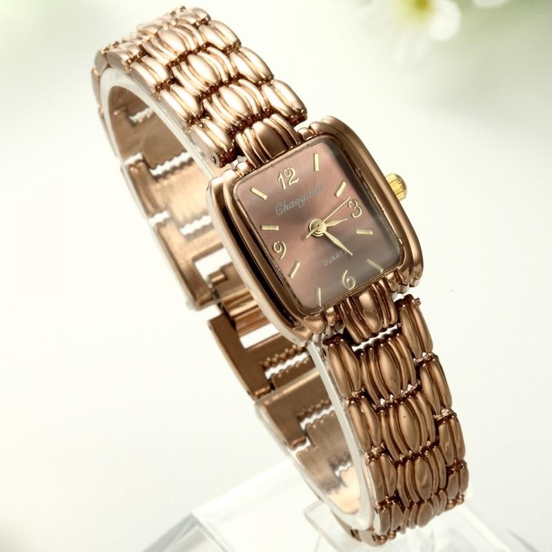 女性手鐲表玫瑰金精鋼錶帶石英方形錶盤手錶