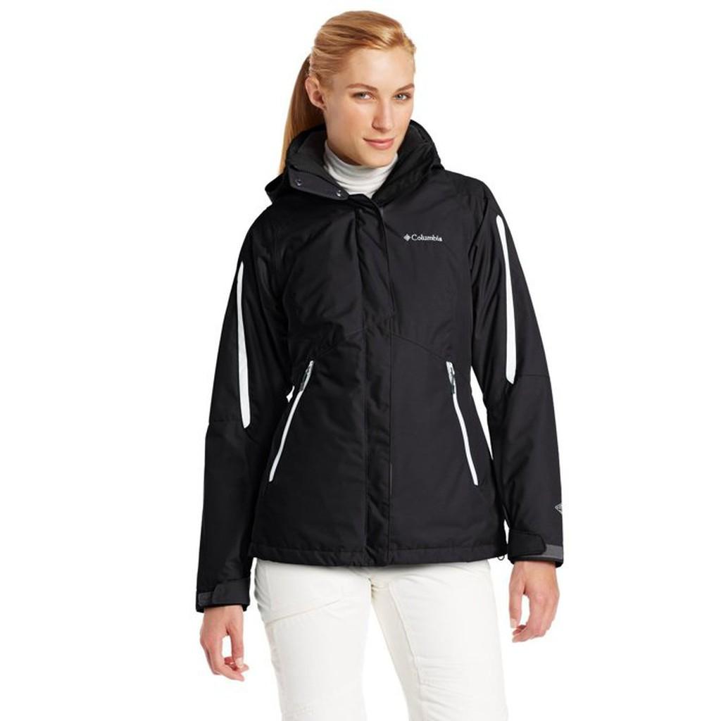 美國百分百【全新真品】Columbia 外套 夾克 連帽外套 哥倫比亞 黑色 兩件式 防水 透氣 女款 S號 E357