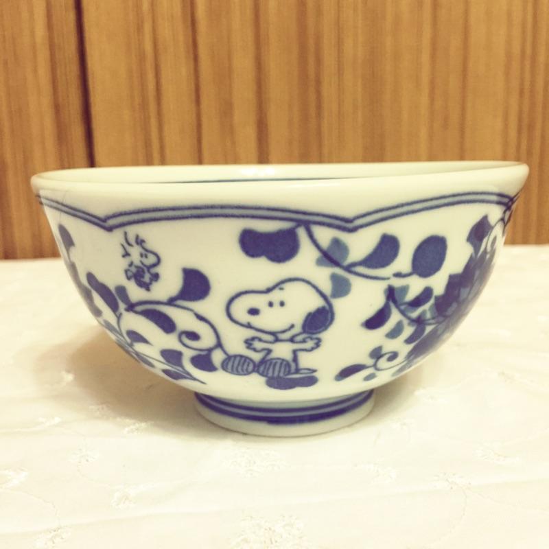 史努比Snoopy 青花瓷花紋飯碗茶碗