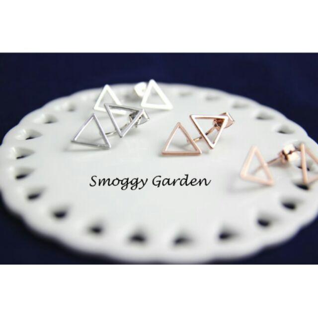 韓 幾何圖形鏤空簍空雙三角形後勾後扣倒三角形狀耳環925 純銀針銀玫瑰金