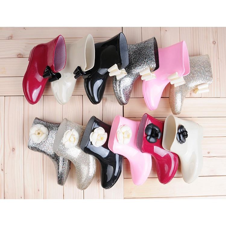 ~ 12 色超 ~女士雨鞋 雨靴韓國蝴蝶結防滑中筒短筒水鞋套鞋膠鞋