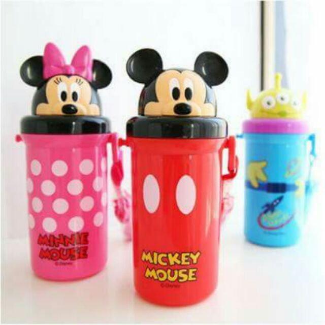 日貨 迪士尼吸管頭型蓋水壺500ml 附背帶冷水壺米奇米妮三眼怪水壺