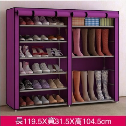 【新品 】家世比雙排鞋櫃靴櫃加高超大容量鐵藝簡易鞋架多層收納鞋櫃置物架組裝防塵鞋架DIY