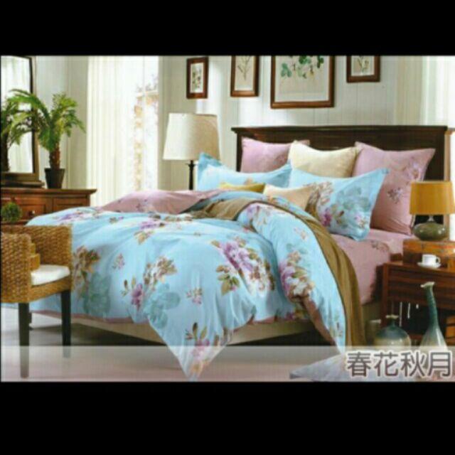 純棉加大春花秋月四件式床包枕套被套組 4980 特會1199