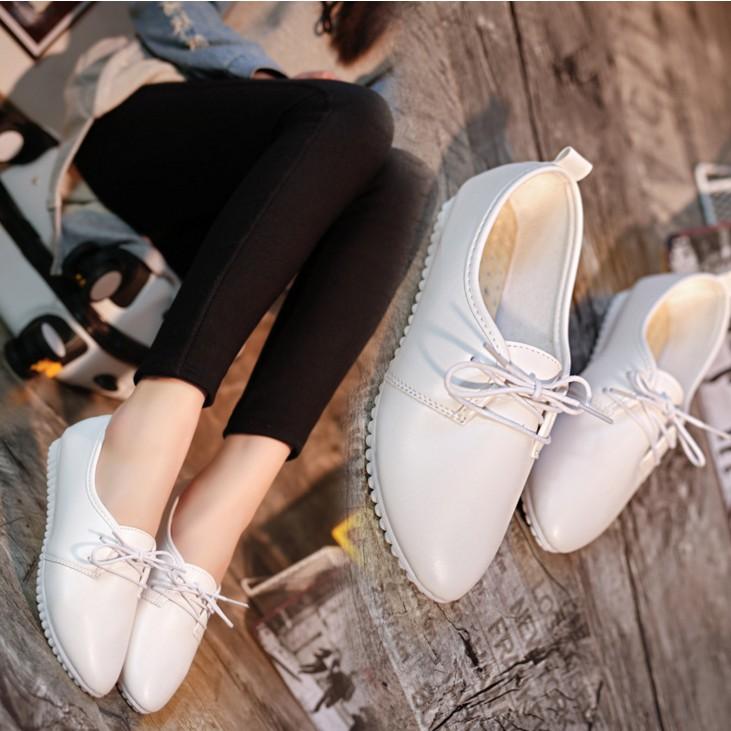 正韓女鞋小白鞋繫帶尖頭單鞋平底平跟淺口休閒鞋工作鞋學生鞋