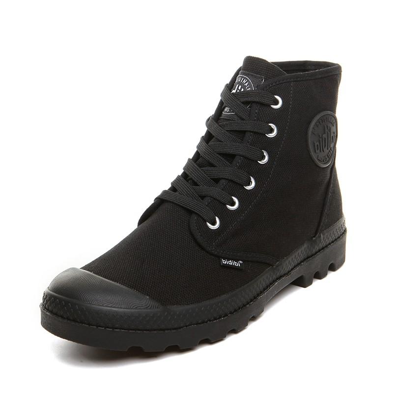 男士 工裝短靴帆布高幫鞋子白黑色英倫馬丁靴軍訓男鞋迷彩