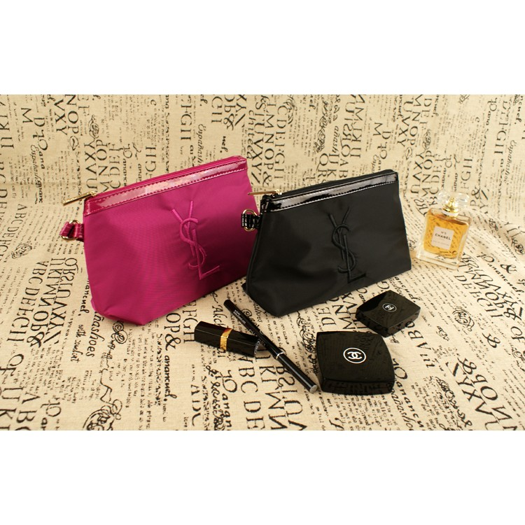 YSL 聖羅蘭專櫃贈品黑色桃紅色 化妝包手拿包YSL LOGO 刺繡 手提袋手提包