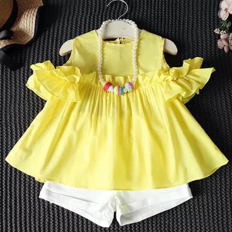 女童套裝均一價388 荷葉露肩小貓洋裝