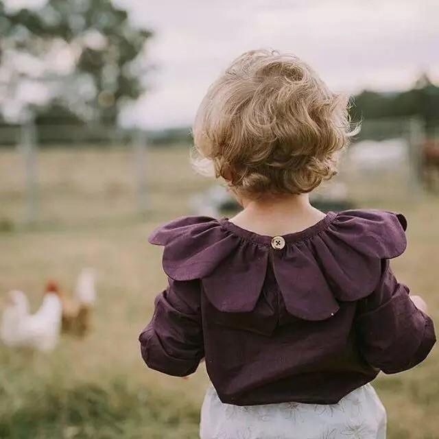 女童寶寶 大花瓣領上衣長袖娃娃衫