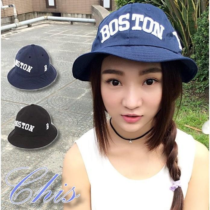 Chis Store ~波士頓繡字盆帽~春夏新品韓國休閒BOSTON 英文字母刺繡圓頂漁夫
