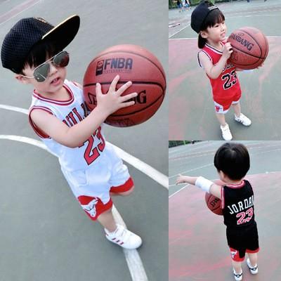 兒童夏裝2017 夏款校服 套裝中小男童數字籃球服無袖背心兩件套男女可愛 套裝兒童籃球套裝