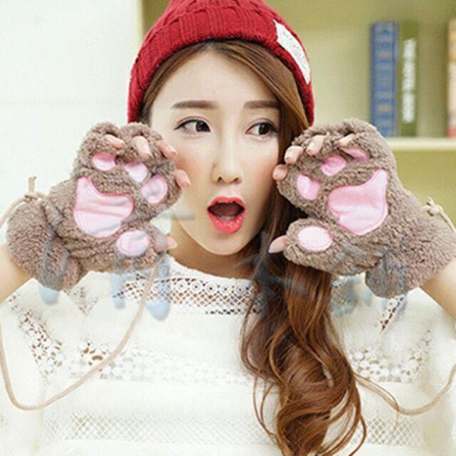 熊熊大進擊手套毛絨絨露指熊掌包粉色保暖手套毛線帽毛茸茸貓掌手套 可愛毛絨