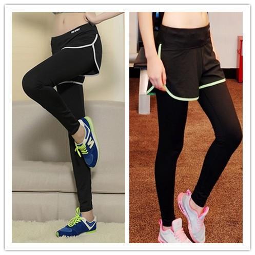 : 防走光健身褲假兩件套裝瑜伽長褲薄款速乾跑步長褲健身跑步緊身褲彈性很好