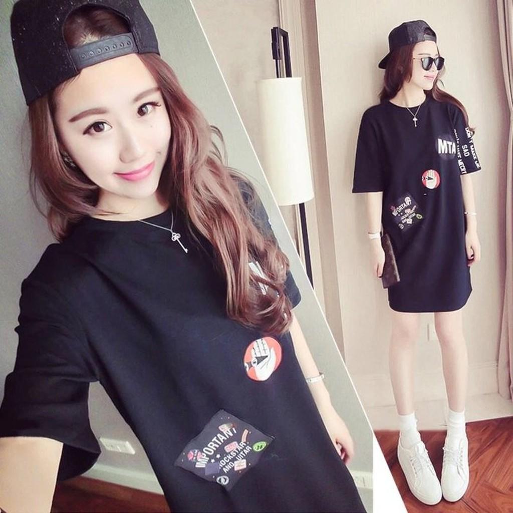 不用等黑白兩色韓國bf 風短袖T 恤短袖上衣寬鬆大碼卡通印花中長款 連身裙長版T 恤長版