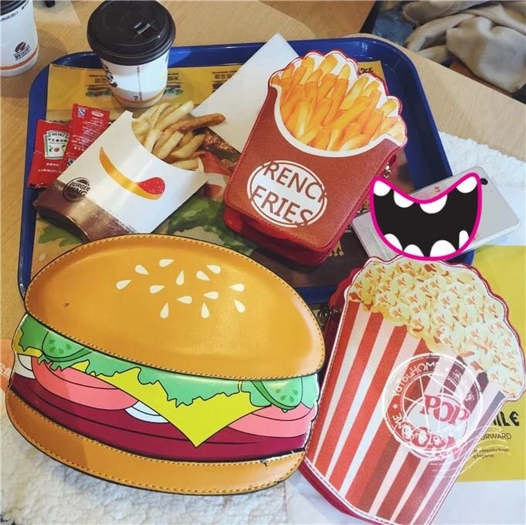 [CC ] 韓國雜誌走秀食物漢堡薯條爆米花斜背鏈條童趣卡通側背包趣味