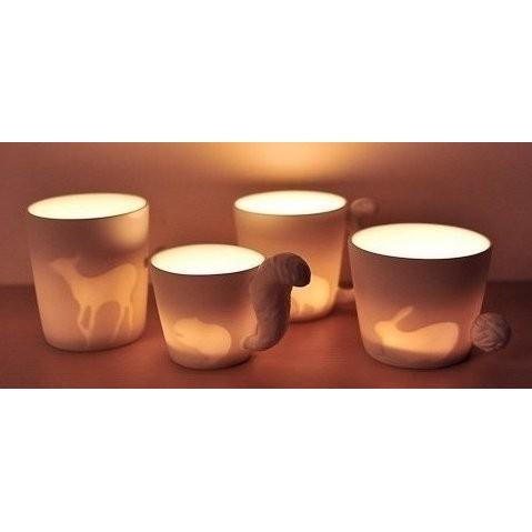 日韓 動物立體尾巴陶瓷杯馬克杯 咖啡杯水杯子浮雕杯Mug 燭臺燈剪影鹿松鼠兔子貓咪杯