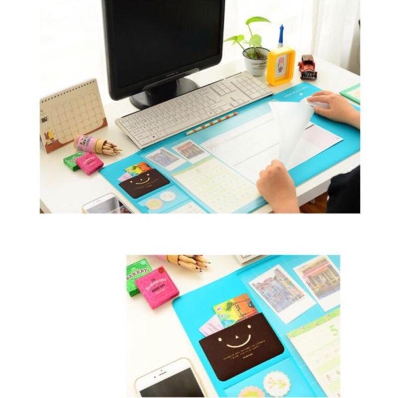 辦公桌超大清新透明防水電腦墊板粉紅孔雀綠淺紫深紫滑鼠墊多 桌墊長尺刻度凹槽韓國風學生上班族