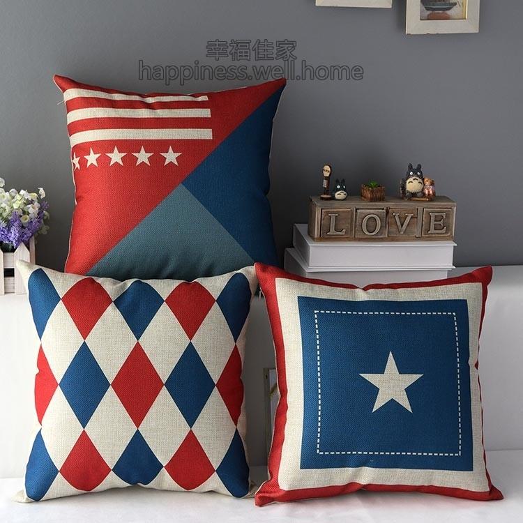 2 月 英倫風 旗幟星星國旗厚棉麻抱枕抱枕套不含枕芯枕心枕頭靠墊倫敦英倫