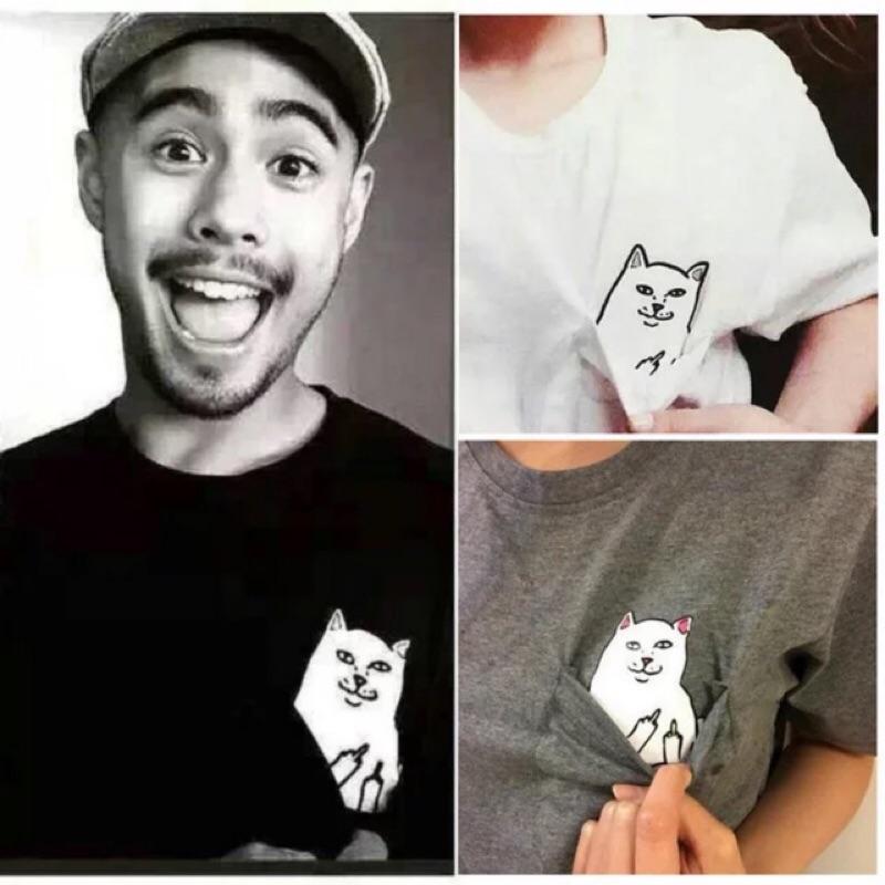 我很薄 一般部份 中指貓星人口袋貓咪男女情侶短袖T 恤ripndip 棉短T 白色灰色黑色
