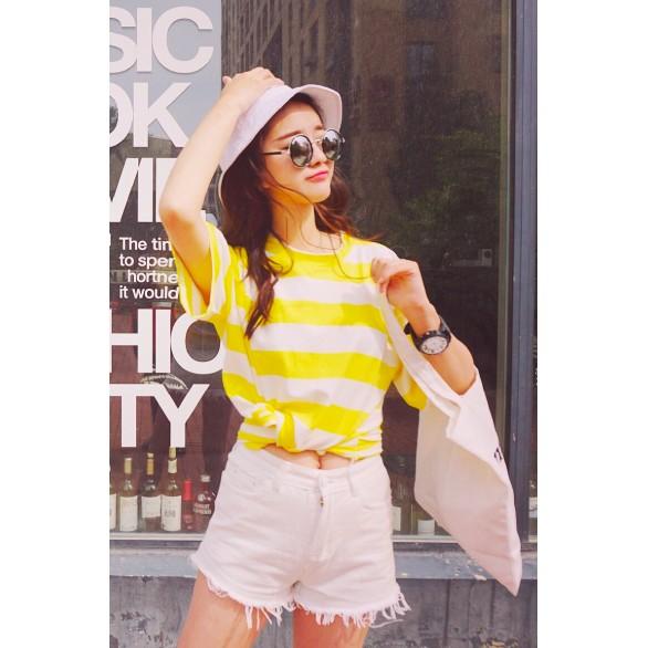 正韩上衣 價JDC 2017 夏裝新品黃色粗條紋圓領短袖t 恤女 百搭顯瘦甜美學生上衣韓妞