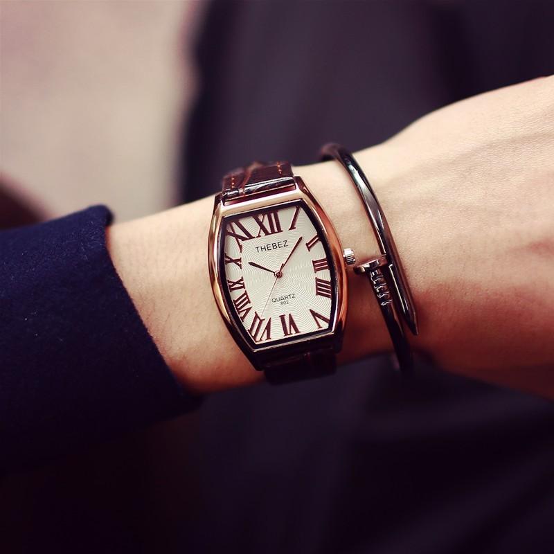 男款方形復古中性防水真皮帶腕表 簡約男女士商務情侶手表
