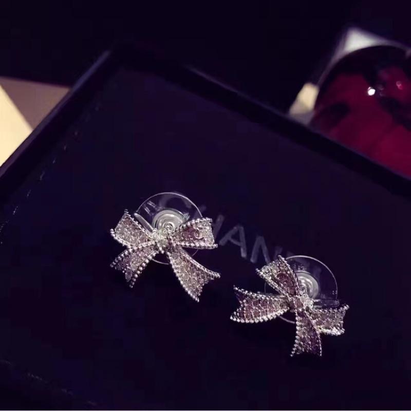 925 純銀針亞金耳環高貴 典雅小香風擬真立體蝴蝶結耳環聖誕節情人節生日 V5566