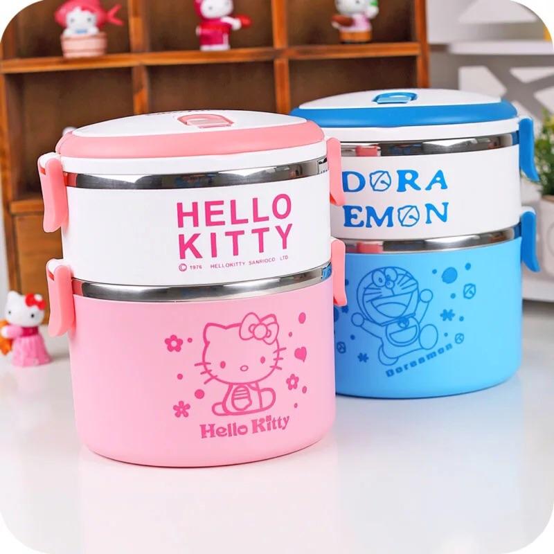 雙層kitty 貓、多啦A 夢、小小兵大容量原型不鏽鋼便當盒手提手拿便當盒