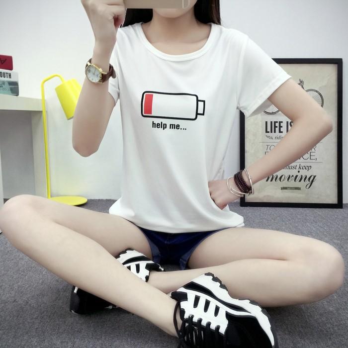 款 價 學生白色寬鬆短袖女T 恤圓領體恤字母打底衫上衣~Trend Fitch