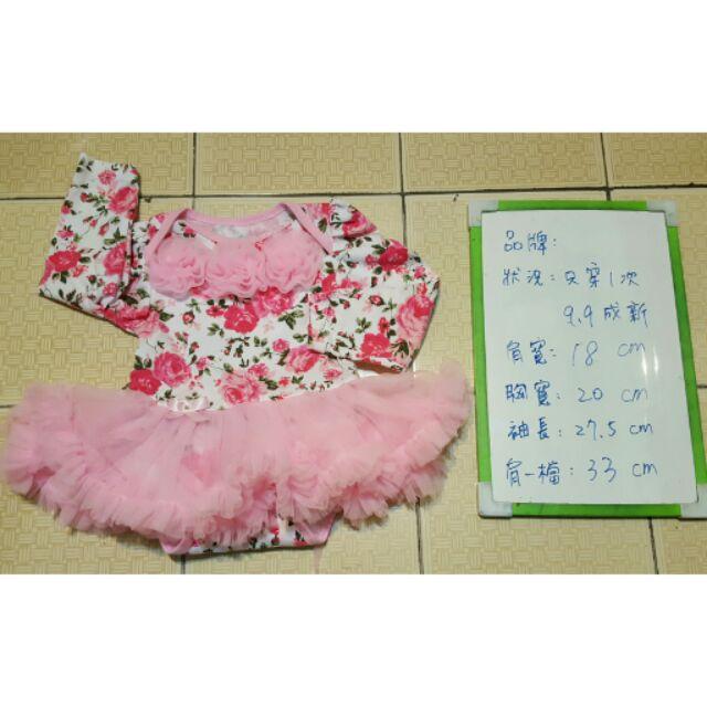 超美華麗高貴端莊喝喜酒打扮穿着嬰兒澎裙粉紅色夢幻花朵長袖滿版洋裝一歲內女童小朋友孩