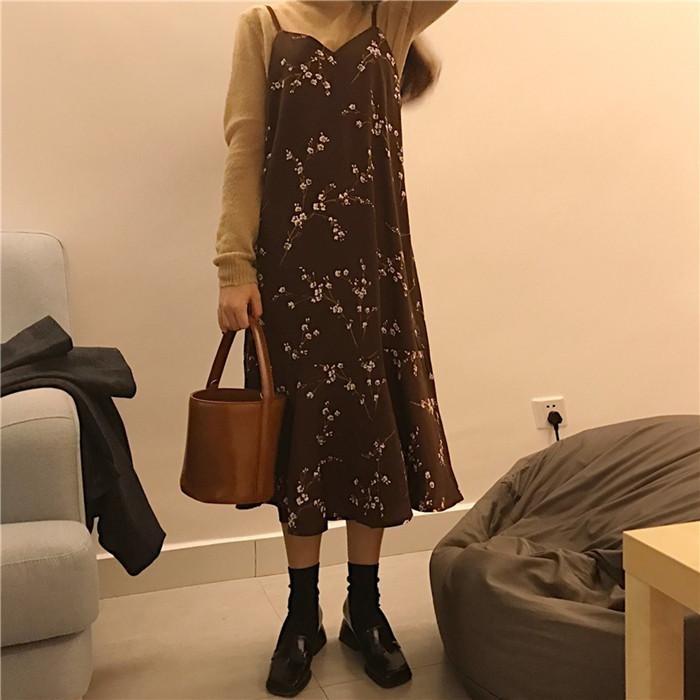 韓國春夏復古雪紡印花chic 碎花魚尾吊帶不規則裙擺層次傘擺女裝連衣裙打底裙A 字裙