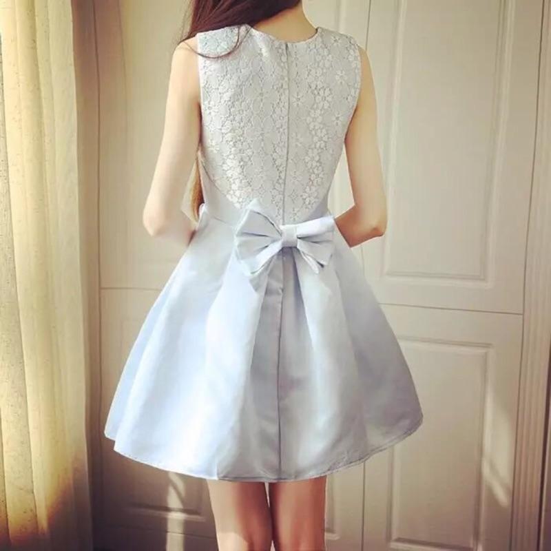 (少量 7 天 出貨)日系甜美氣質圓領蕾絲蝴蝶結修身百褶澎澎裙顯瘦洋裝