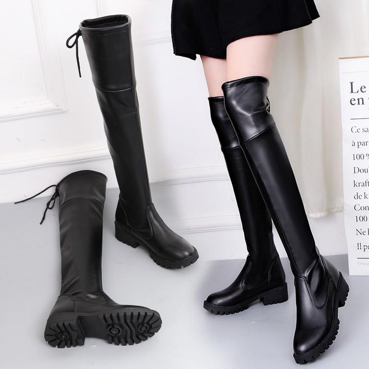 ~靓伊轩~℡ 長筒靴女過膝靴彈力高筒長靴尖頭騎士靴瘦腿靴粗跟靴子女