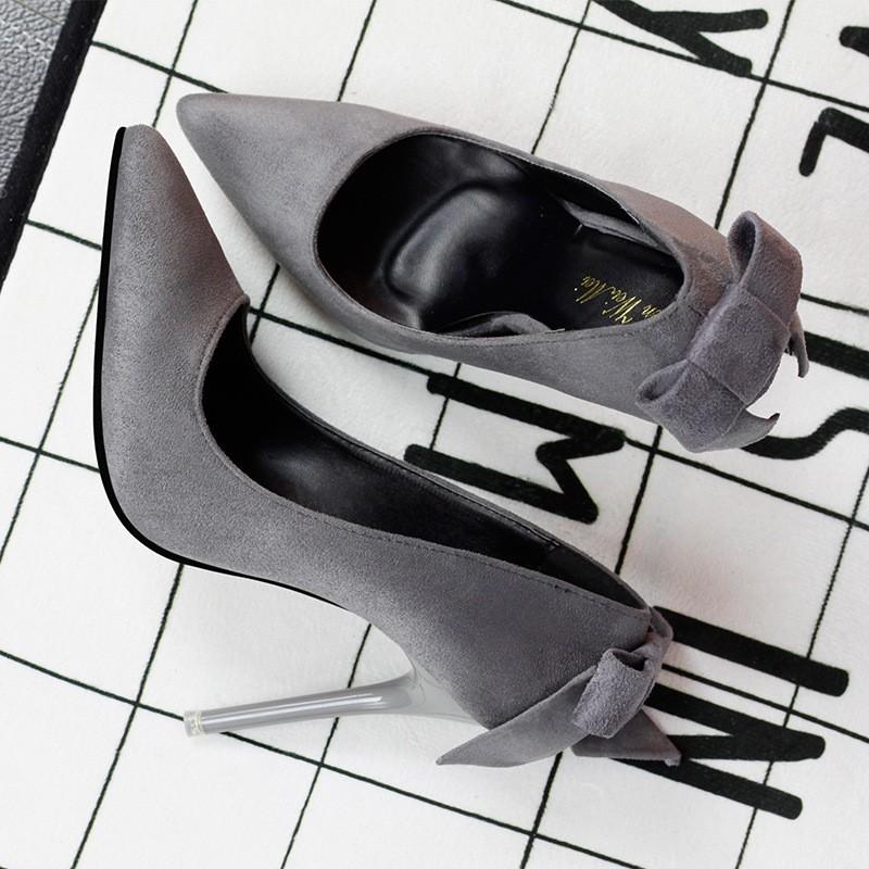 ~販賣美好~9616 6 風簡約尖頭鞋淺口性感氣質后蝴蝶結高跟鞋超高細跟單鞋