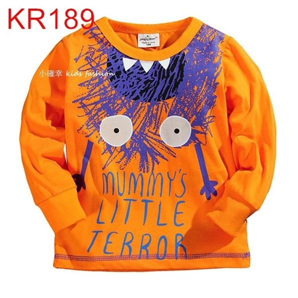 小確幸衣童館KR189 款秋上新萬聖節可愛搗蛋鬼嚇瘋了橘黃色長袖純棉T
