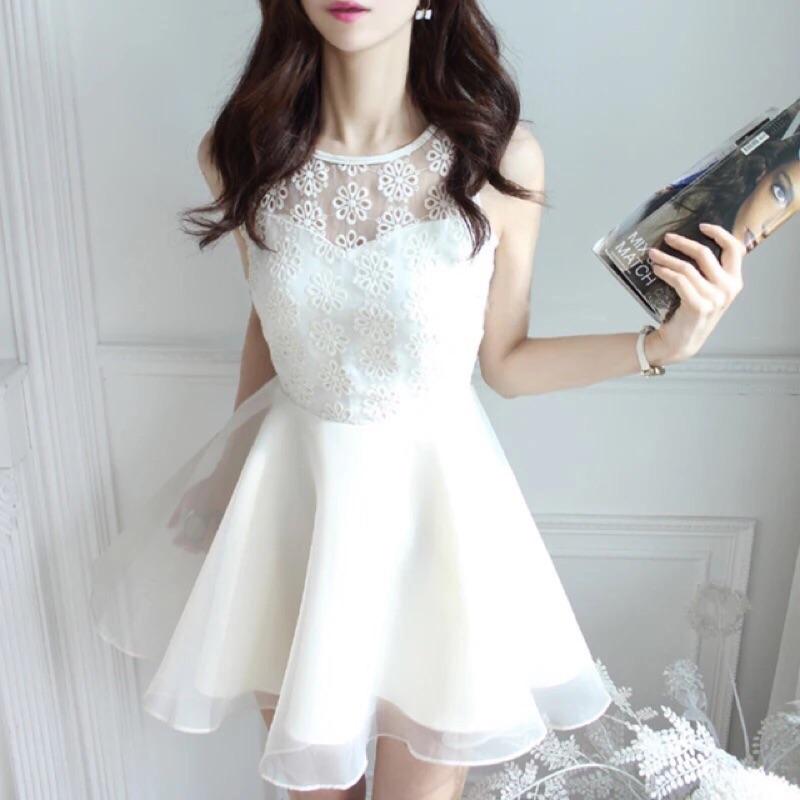 蕾絲繡花雪紡背心裙歐根紗洋裝