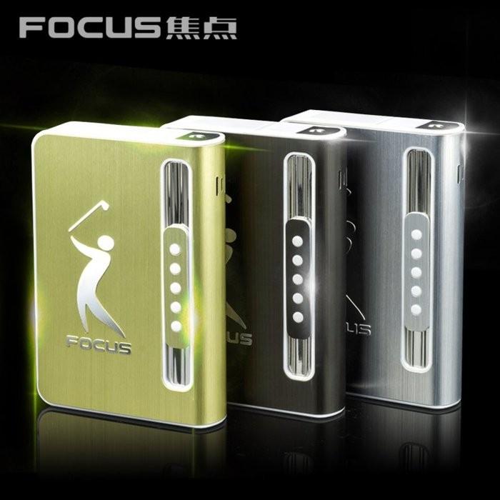 賠售 FOCUS 煙盒焦點菸盒焦點煙盒FOCUS 菸盒超薄煙盒自動彈煙煙盒帶防風打火機10