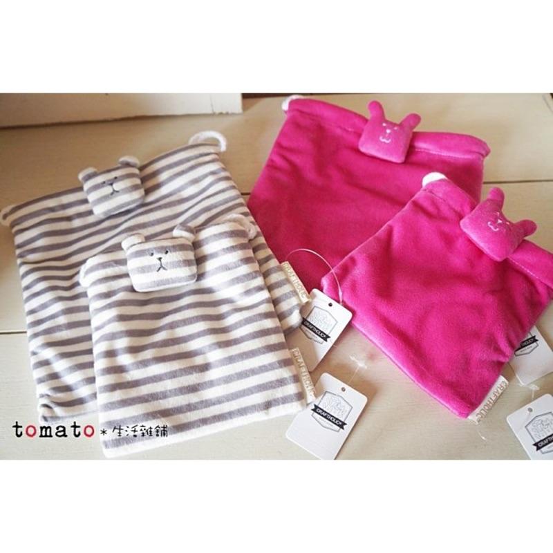 ˙TOMATO 雜鋪˙ 雜貨CRAFTHOLIC 灰白條紋熊桃色兔子系列布偶束口袋收納包