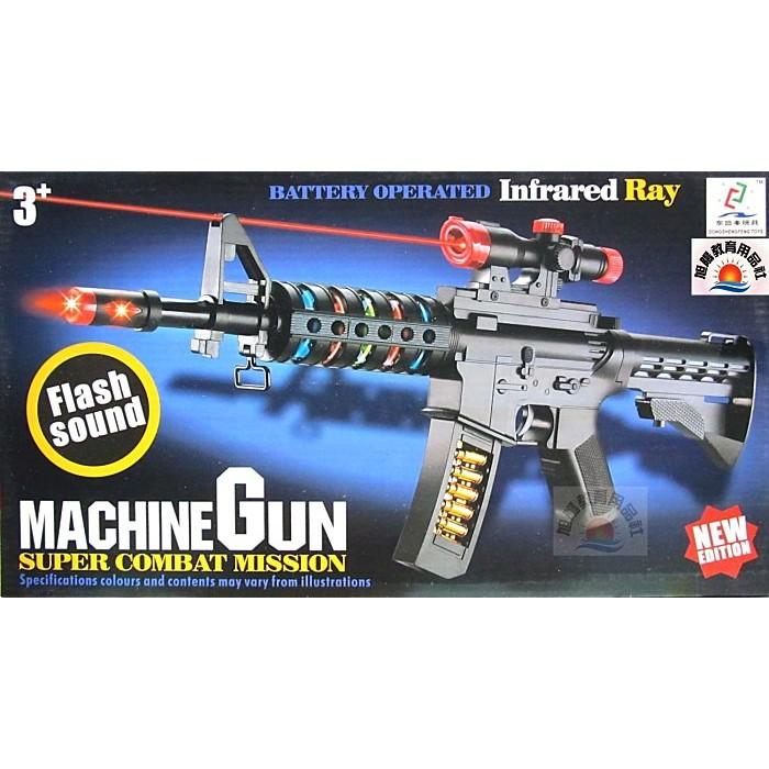 ~旭陽教育用品社~仿真震動語音聲光M16 突擊步槍電動聲光玩具槍帶燈光音效震動小男生玩具