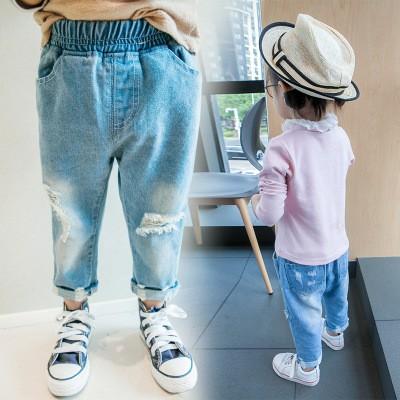 小孩也要百搭牛仔褲鬆緊帶褲頭破破復古風格