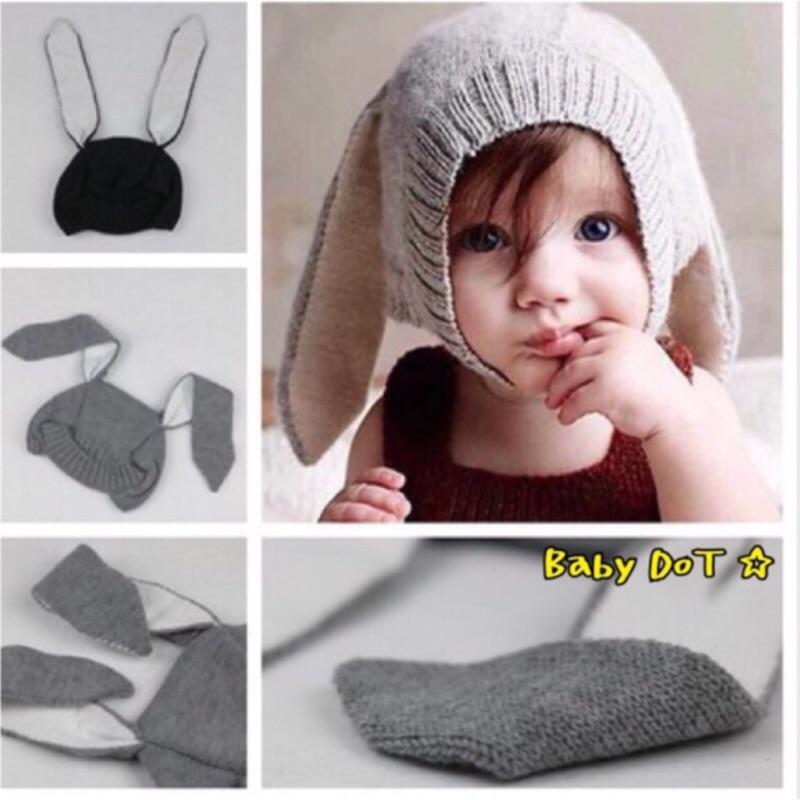 ✨寶寶長耳朵兔子毛線帽針織帽男女童可愛 保暖針織毛線帽兔子帽男女童大耳朵帽INS