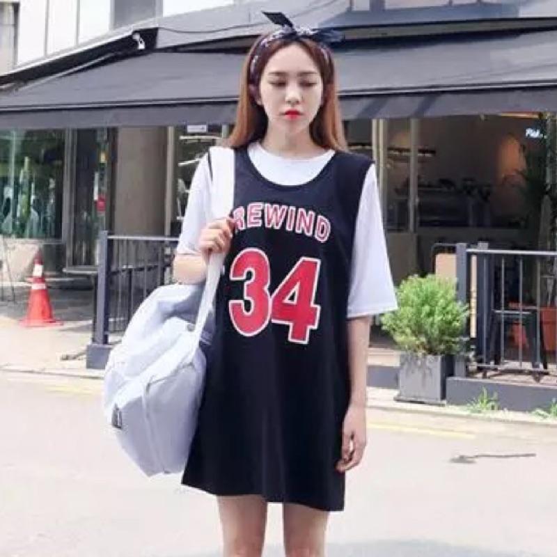 數字中長款短袖籃球衣長版背心連身裙T 恤女