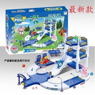 阿痞3C 韓國ROBOCAR POLI 主題滑行停車場遙控車模型波力變形機器人玩具內付二隻